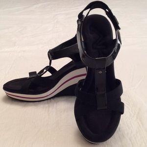 AK ANNE KLEIN Black Sport Comfort Wedge Sandals-8M